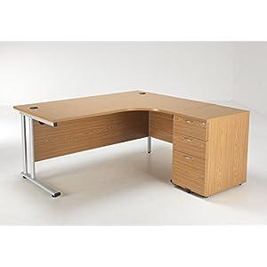 BiMi Ergonomic 1600 Right Hand Corner Desk with 3 Draw Desk High Pedestal Oak