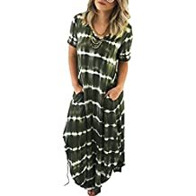 Kinlene Vestidos Largos, Vestidos Mujer Verano 2018 Vintage Mujer Rayado Bohemia Vestido,Casual Playa