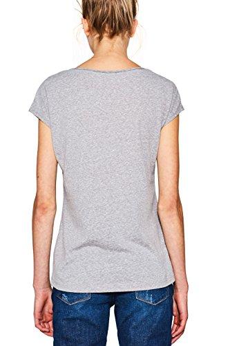 edc by ESPRIT Damen T-Shirt Grau (Light Grey 5 044)