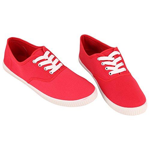 Herren Damen Unisex Sneakers Low Freizeit Turnschuhe Schuhe Bequem Rot Red