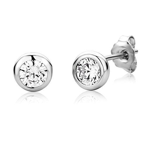 Miore Ohrringe Damen Ohrstecker Silberfarbig 925 Sterling Silber Solitär mit Rundschliff Zirkonia Steinchen