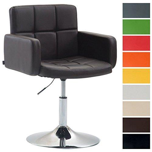 CLP Design Lounge Sessel LOS ANGELES mit Kunstleder-Bezug, Lounger drehbar / höhenverstellbar, Esszimmerstuhl mit Trompetenfuß in Chromoptik Braun
