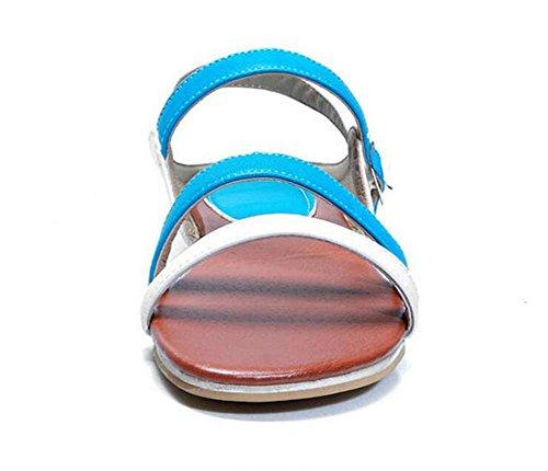 Peep Toe Chaussures à bretelles Chaussures confortables Sandales plates à rayons plates Sandales Casual 30-43 Chaussures à grande taille pour femmes Blue