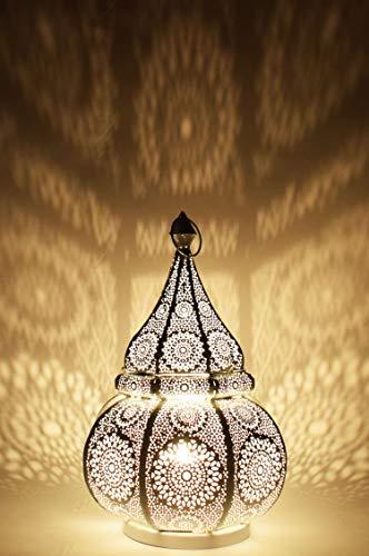 Orientalische Marokkanische Tischlampe Lampe Leuchte Tischleuchte Nachttischlampe Laterne Malhan (Weiss)
