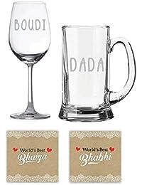 YaYa Cafe™ Anniversary Gifts for Bhaiya Bhabhi, Bengali Bhaiya Bhabhi Dada Boudi Beer Mug Wine Glasses, Coasters Set of 4