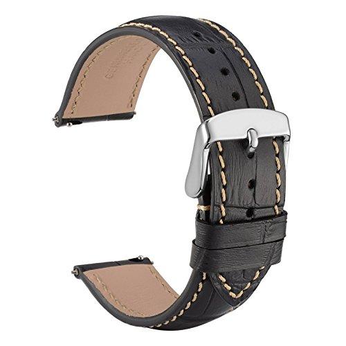 WOCCI Quick Release Uhrenarmbänder 22mm Schwarz Alligator Geprägt Leder Armbanduhr Bands mit Silber Schnalle (22 Mm Fossil Watch Band)