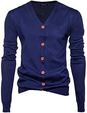 Honghu Casual Cárdigans para Hombre, Navidad Manga Larga De Punto De Chaqueta Sweater Outwear Coat Azul oscuro M