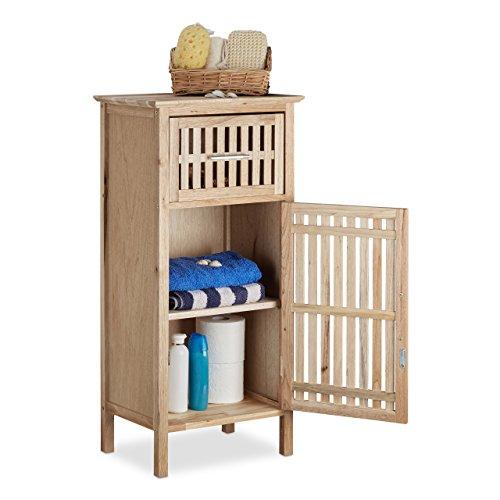 Relaxdays Armario de baño de nogal, ahorra espacio, nicho de armario aparador de madera, tamaño mediano, 82x 40x 29cm de baldas, Natural