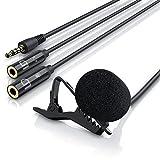 LIAM & DAAN Ansteckmikrofon Lavalier Mikrofon   Easy Clip (abnehmbarer Halteklipp zur flexiblen Befestigung)   Hohe Sprachqualität   2 zusätzliche Eingänge/Buchsen: 1 x Kopfhörer, 1 x Mikrofon