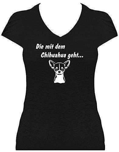 Elegantes Shirt Damen Sprüche Hunde Chihuahua Die mit dem Chihuahua geht, T-Shirt schwarz, Grösse M - Chihuahua-schwarzes T-shirt
