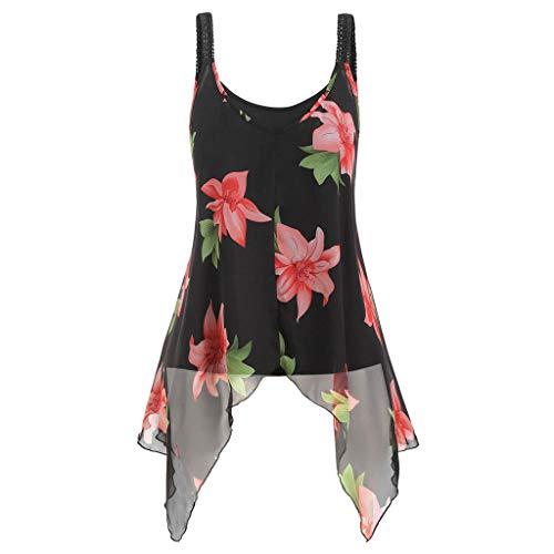 MRULIC 2 Stück Damen Tank Tops Übergröße Mode Frauen Floral Bedruckte ärmellose Camis Weste Tops Bluse Sommer Chiffon Crops(A-Schwarz,EU-40/CN-L) -