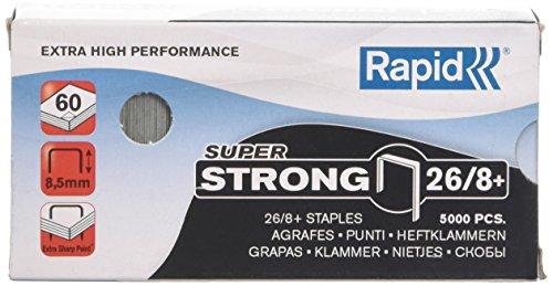Rapid Agrafes en fil robuste Super Strong N°26, Longueur 8,5 mm, 5000 Agrafes, Agrafe jusqu'à 60 feuilles, Fil galvanisé en acier, 24862200