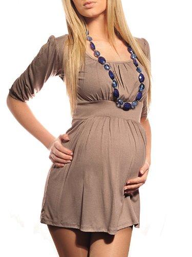 Purpless Maternity Damen U-Ausschnitt Umstands Top Tunika 5006 (38 (UK 10), Cappuccino)