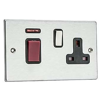 Hamilton HARTLAND 1Gang Pôle double 45A en acier satiné Rouge + Prise 13A avec interrupteur à bascule avec insert Noir