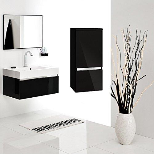 Badmöbel-Set mit Waschbecken Spiegel Unterschrank Hängeschrank Waschtisch Waschbeckenunterschrank 60 cm Badezimmer Bad-Set Schwarz Hochglanz vormontiert