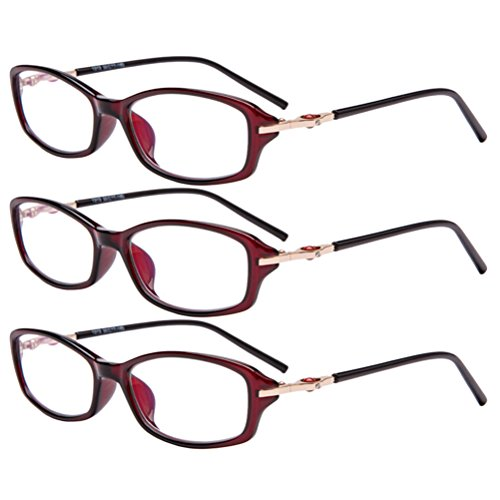 Zhhlinyuan 3 Pack Lesebrille Damen - Full-frame Eyeglasses TR90 Readers Reading Glasses Crystal Clear Vision for Women Designer
