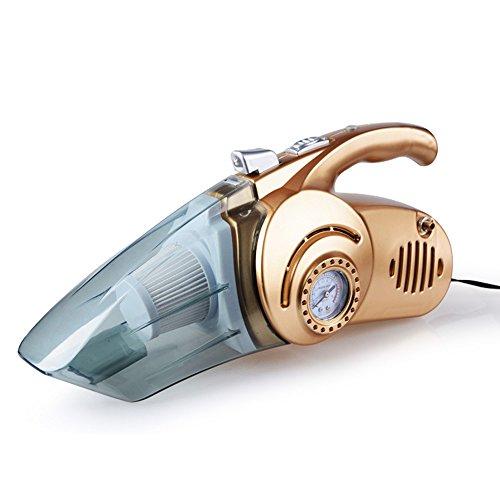 WJH Auto-Staubsauger Mit LED-Licht, Nass / Trocken Portable Handheld-Auto-Staubsauger Für Auto, Test Reifendruck Fördern Multifunktions-Auto-Staubsauger,Gold