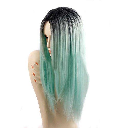Cosplay Perücke, Mittellange Perücke mit glattem Haar, Bluestercool Frauen Mode Dame Lange Gerade Ordentlich Mittelteil Haar