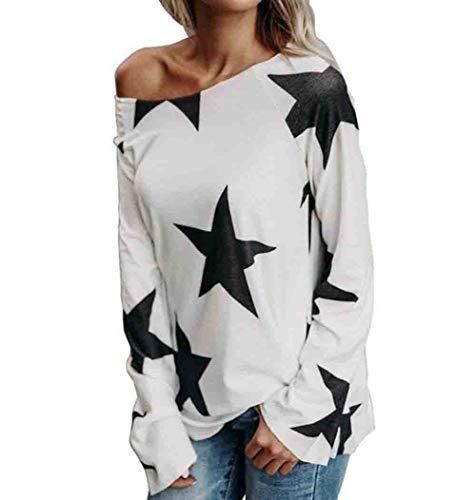 WOCACHI Damen Tops Mode Frauen Mädchen reizvolles aus Schulter großen schwarz Stern gedruckt Sweatshirt Langarm Oversize Weiß Pullover Tops Bluse (4XL/46, A-Weiß)