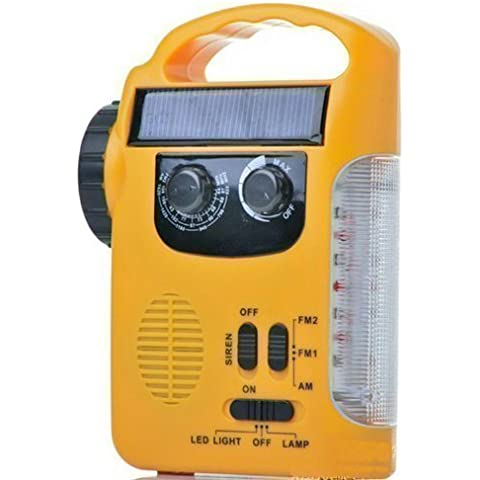 MAYMOC al aire libre Wind-up antorcha, linterna Solar, linterna LED y emergencia luz recargable con AM / FM Radio luz de emergencia & cargador de teléfono para caminar, senderismo, Camping, casa, jardín, alquiler de vacaciones