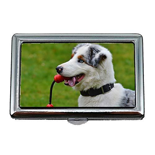 Zigaretten-Etui, Hund Junge Spielen spielerisch niedlich Spielen Hund Romp, Visitenkartenetui Visitenkartenetui Edelstahl