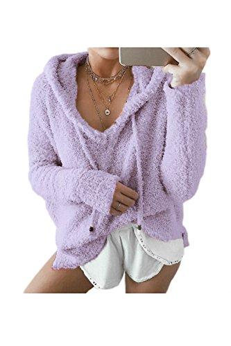 La Femme Automne - Hiver Occasionnel Pull Mobiles Haut Laine Sweat À Chaud purple