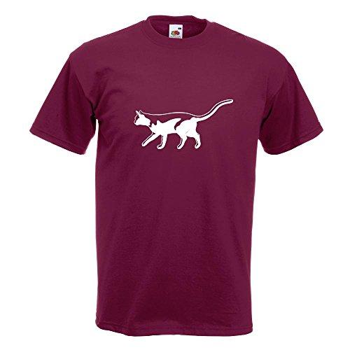KIWISTAR - Katze laufend Cat T-Shirt in 15 verschiedenen Farben - Herren Funshirt bedruckt Design Sprüche Spruch Motive Oberteil Baumwolle Print Größe S M L XL XXL Burgund