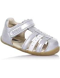 BOBUX - Chaussure Step Up Jump argent en cuir, made in New Zealand, idéale pour les premiers pas, bébé Fille