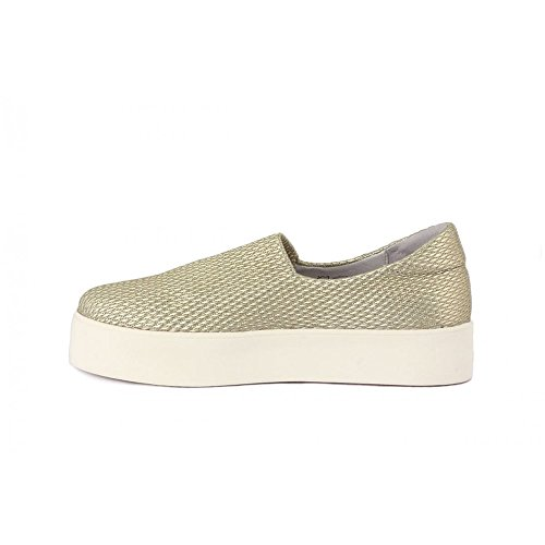 FRAU 37Y0 Oro Scarpe Donna Sneakers Slip-On Elasticizzata plateaux Oro-Bianco