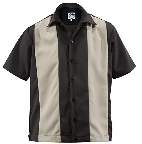 ing Shirt Worker Hemd Rockabilly Two Tone Gabardine Lounge 50er Vintage Retro Double Panel (XL/Xtra-Large, Dunkelbraun/Beige) ()