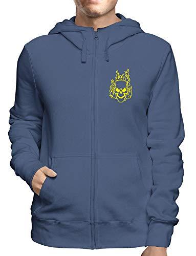 Sweatshirt Hoodie Zip Navy FUN0419 Flaming Skull Flaming Skull Sweatshirt