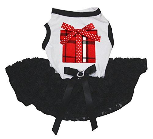 Petitebelle Hunde-Kleid mit Plaid-Hemd, Weiß mit Blumenmuster, Schwarz, Tutu -