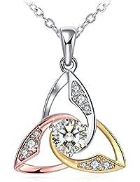 Collier, J.Rosée Argent 925 Bijoux Femme/Fille, 5A Zirconium cubique, Pendentif Idéal, Chaîne 45+5cm Cadeau parfait L'oeil d'Athéna