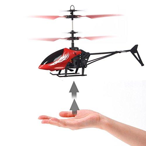 GJKK Mini Drone RC Drone Infrarot Induktion Ferngesteuerte Flugzeuge Blinklicht Spielzeug Gyro Modellbau Flieger Tragbare Drohne Micro Drone Draussen Drohne Kinderspielzeug Rot Gelb (Rot)