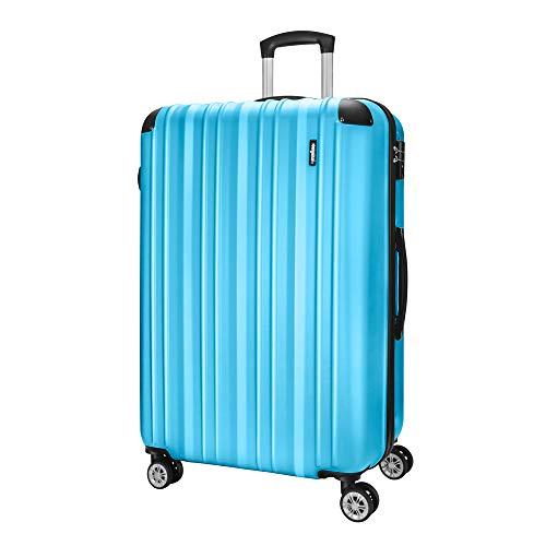 Amasava Hartschalen Koffer Trolley Rollkoffer Reisekoffer mit TSA Zahlenschloss 4 Zwillingsrollen Polycabonat 75cm/103L Blau