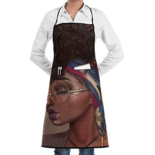 UYTGYUHIOJ Sexy Lady African American Black Women Kitchen Bib Apron - Pro Barber, Tattoo, Barista, Bartender, Baker, Hair Stylist, Server Apron - Rüschen Kittel