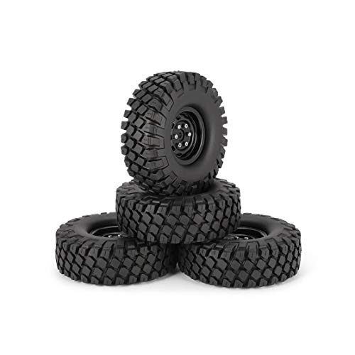 Pneumatici in gomma da 115 mm da 4 pollici da 1,9 pollici con cerchione in metallo per 1/10 Traxxas TRX-4 SCX10 RC4 D90 RC Car Crawler Kaemma(Color:Black Wheel)