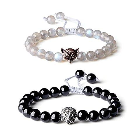 COAI® Blue Flash Labradorite & Onyx, Fox & Lion Couple Friendship Yin Yang Adjustable Bracelet