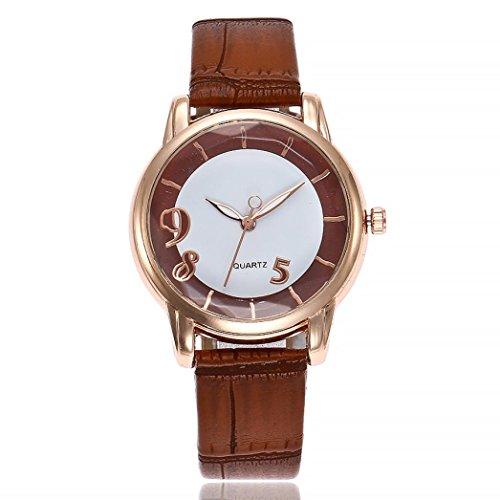 Uhren DELLIN V251 Beiläufige Quarz Lederband Newv Bügel Uhr Analoge Armbanduhr der Frauen (Braun)