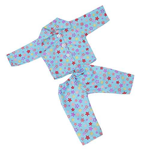 D DOLITY Modepuppe Kleidung Prinzessin Kleid, Pyjamas, Badeanzug Bekleidung für 18'' amerikanische Mädchen Puppe Zubehör - # C - Blau