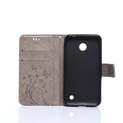 Cover Protettiva Nokia N630, Alfort 2 in 1 Custodia in Pelle Verniciata Goffrata Farfalle e Fiori Alta qualità Cuoio Flip Stand Case per la Custodia Nokia N630 Ci sono Funzioni di Supporto e Portafogl Grigio