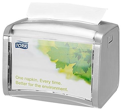 Tork 272613 Xpressnap Tabletop Napkin Dispenser N4 / Paper Dispenser Suitable for N4 Interfold Napkin Refills / Signature Design / Light Grey