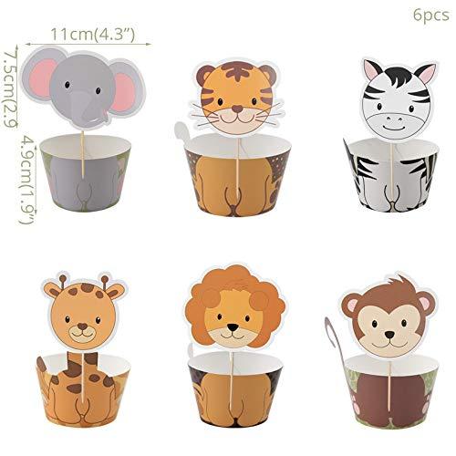 RZRCJ Partygeschirr (Spielzeug) Tier Löwe Zebra Giraffe Folienballons Dschungel Party Geburtstag Pappteller Cup Cake Toppers Für Kinder Safari Geburtstag Gefallen, 6Set Cupcake Dekor (Safari Cupcake Toppers)