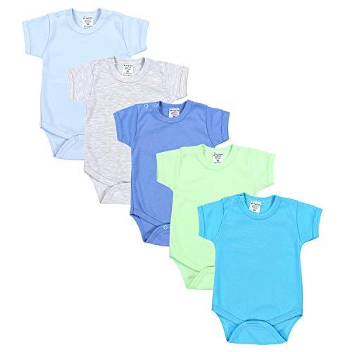TupTam Jungen Baby Body Kurzarm in Unifarben - 5er Pack, Farbe: Farbenmix 2, Größe: 92