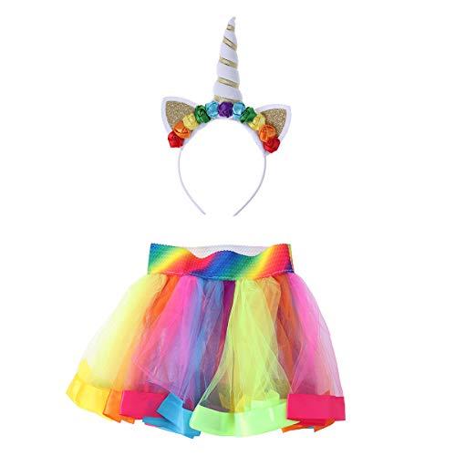Beaupretty Mädchen Einhorn kostüm geschichtet Regenbogen Tutu Rock Einhorn Horn Stirnband für Kinder mädchen Party Fancy Dress (130 (Fancy Dress Wie Ein Baby)