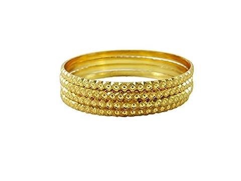 Plaqué or 18k 4 pcs bracelets mis indienne bollywood bracelet traditionnel cadeau de bijoux 2 * 6