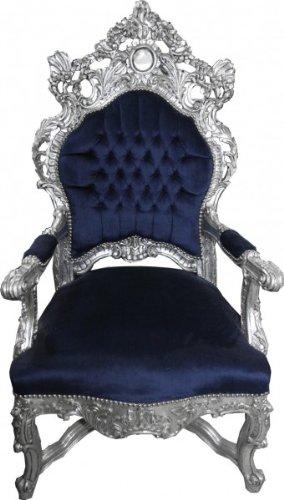 Casa Padrino Barock Thron Sessel Royalblau / Silber - Unikat - Barock Möbel...