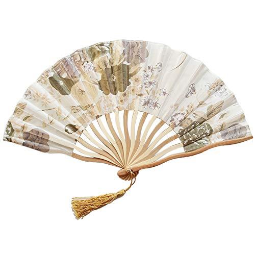 erthome Chinesischen Stil Hand Fan Bambus Papier Faltfächer Party Hochzeitsdekor Multi-Color Farbmuster Blume Papier Fan (J)