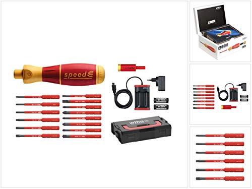 Wiha speedE® elektronischer Schraubendreher - Set 2 in L-Box - 13-teilig mit 2x 1,5 Ah Akku und Ladegerät + Bits und TorqueAdapter (41912) + Bit Set slimBit Torx 6 - teilig (42210)