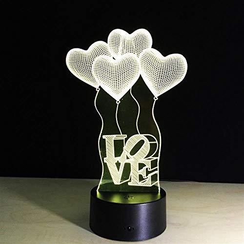 Yoppg 3D Illusion Lampe Led Nachtlicht Touch-Schalter 7 Farben Schreibtisch Optische Illusions Lampen Usb Or Batterie Betrieben Kind Weihnachtsgeschenk Fliegende Liebe